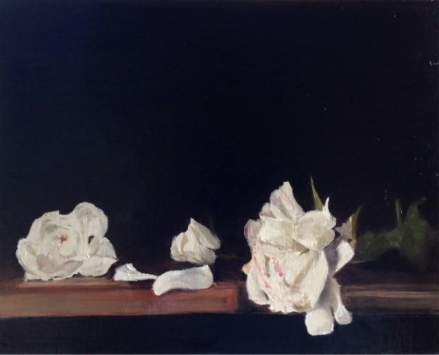 """White Roses"" original fine art by James Coates"