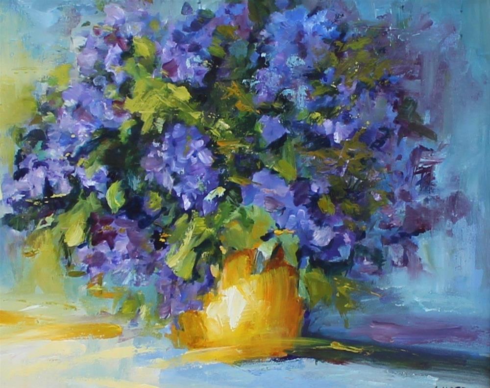 """original lilac oil painting impressionism"" original fine art by Alice Harpel"