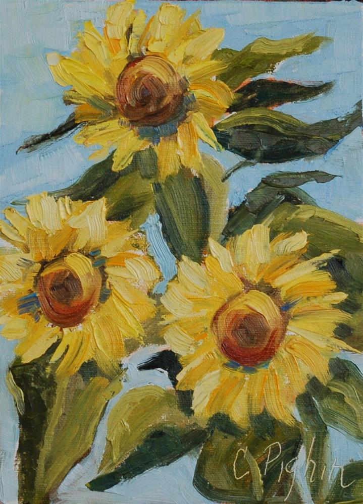 """Happy Sunflowers"" original fine art by Carol Pighin"
