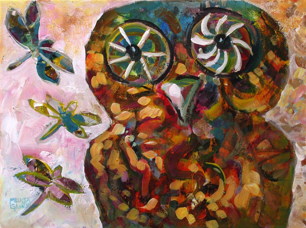 """Owl & Dragonflies"" original fine art by Melissa Gannon"