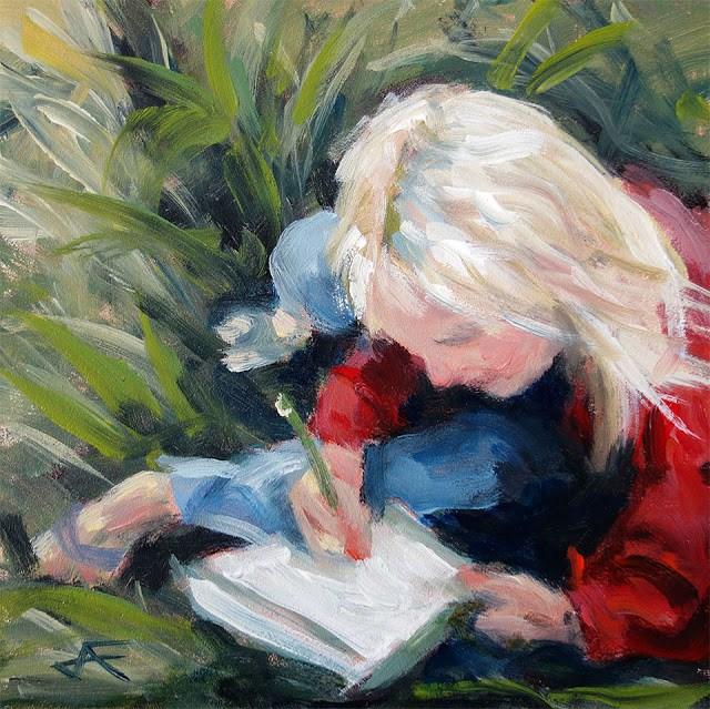 """Write"" original fine art by J. Farnsworth"