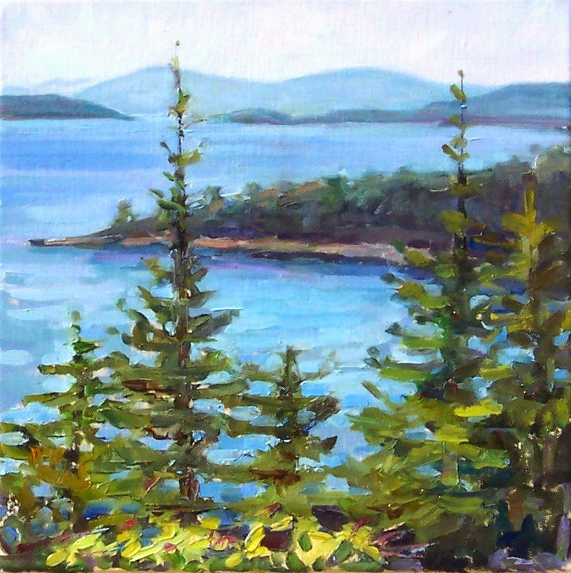 """View from the Drive,landscape,oil on canvas,12x12,price$500"" original fine art by Joy Olney"