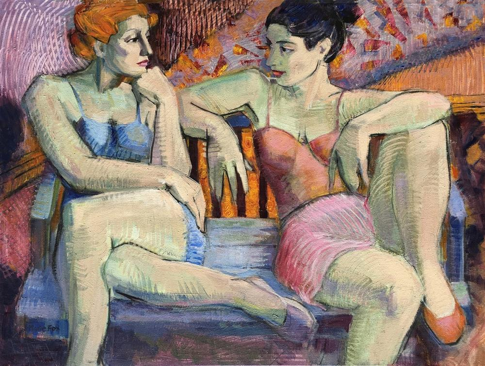 """""""The Audition, two women, dancers, contemporary figurative painting, female figuration, seated women,"""" original fine art by Marie Fox"""