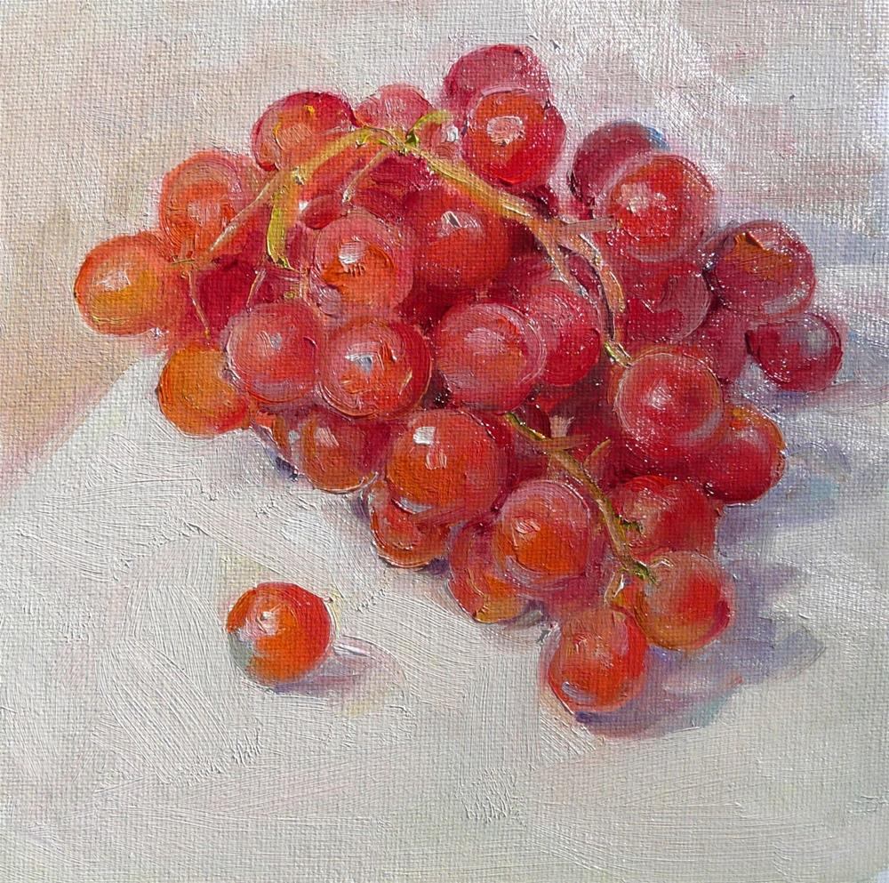 """More Grapes,still life,oil on canvas,6x6,price$200"" original fine art by Joy Olney"