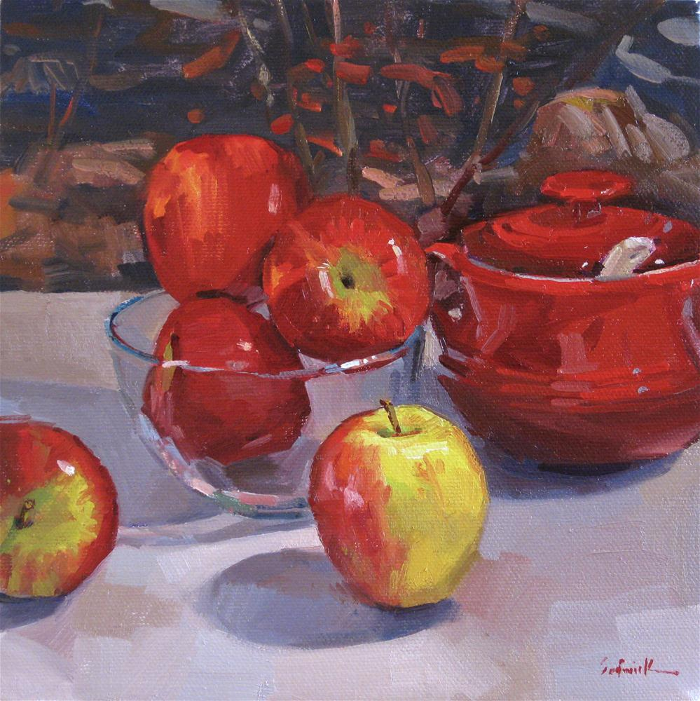"""Apple Season still life daily painting fruit kitchen art red"" original fine art by Sarah Sedwick"