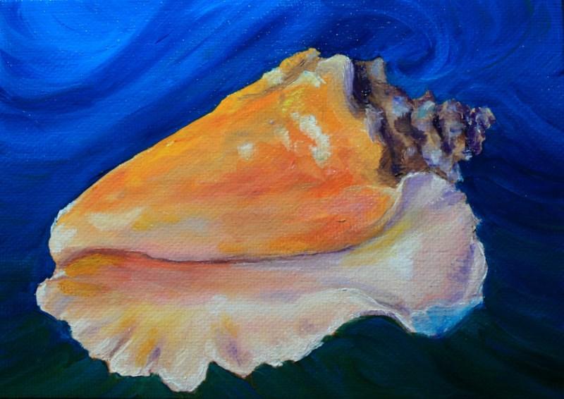 """Conch Shell"" original fine art by Jean Nelson"