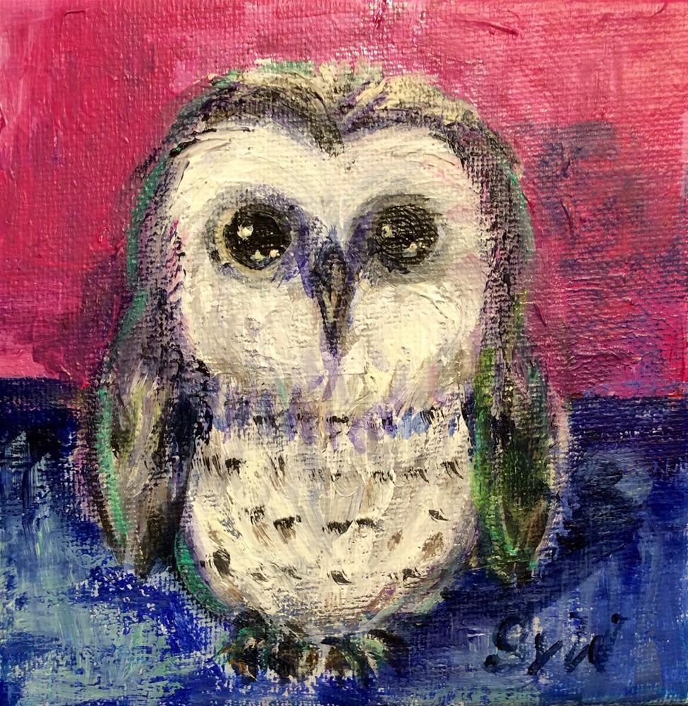 """""""Baby owl"""" original fine art by Sonia von Walter"""