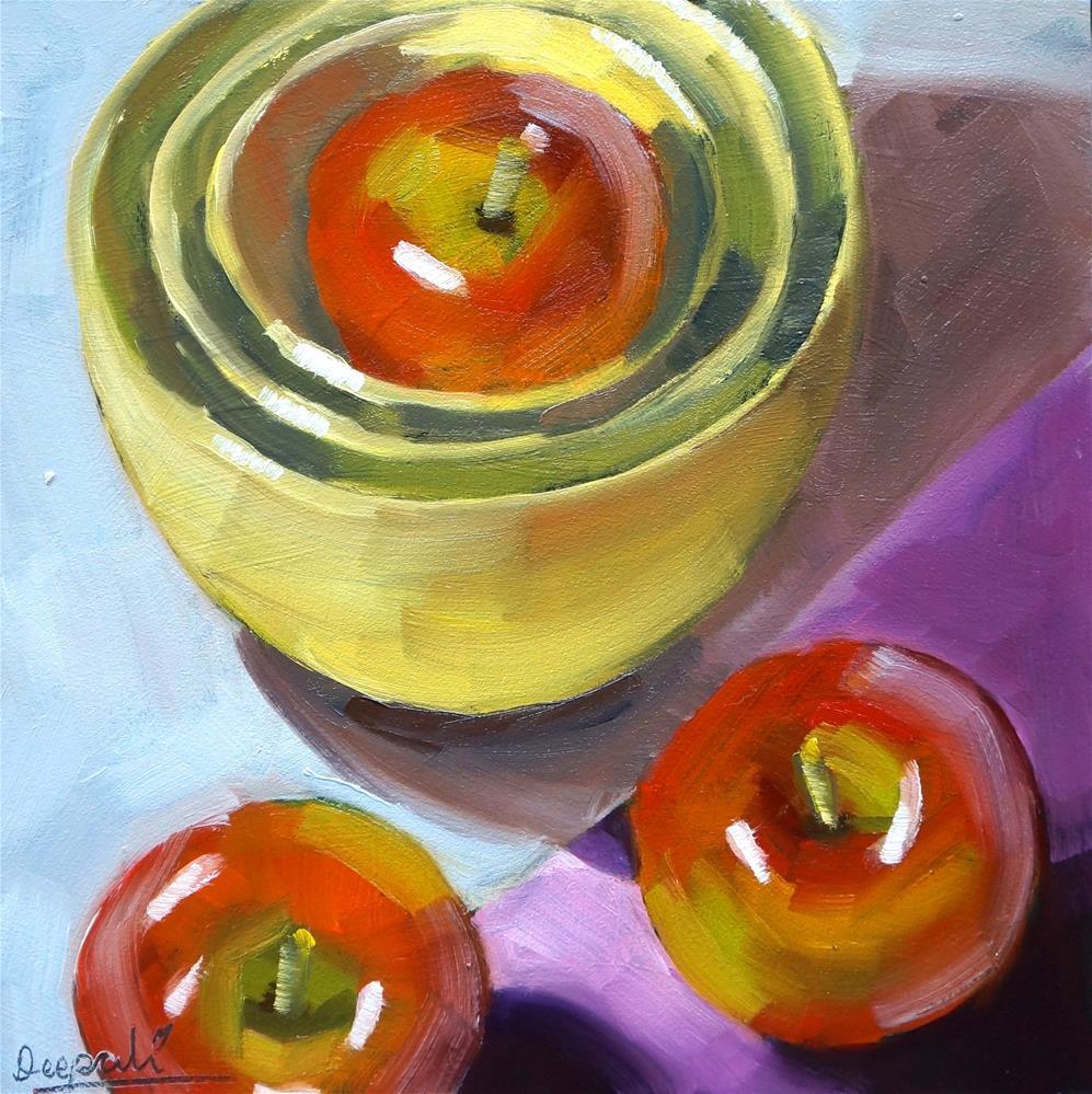 """""""Apples and bowls"""" original fine art by Dipali Rabadiya"""