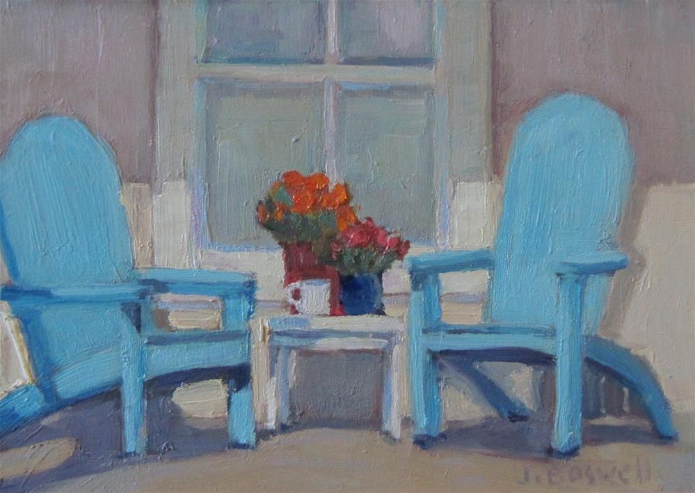 """""""Blue Adirondack Chairs"""" original fine art by Jennifer Boswell"""