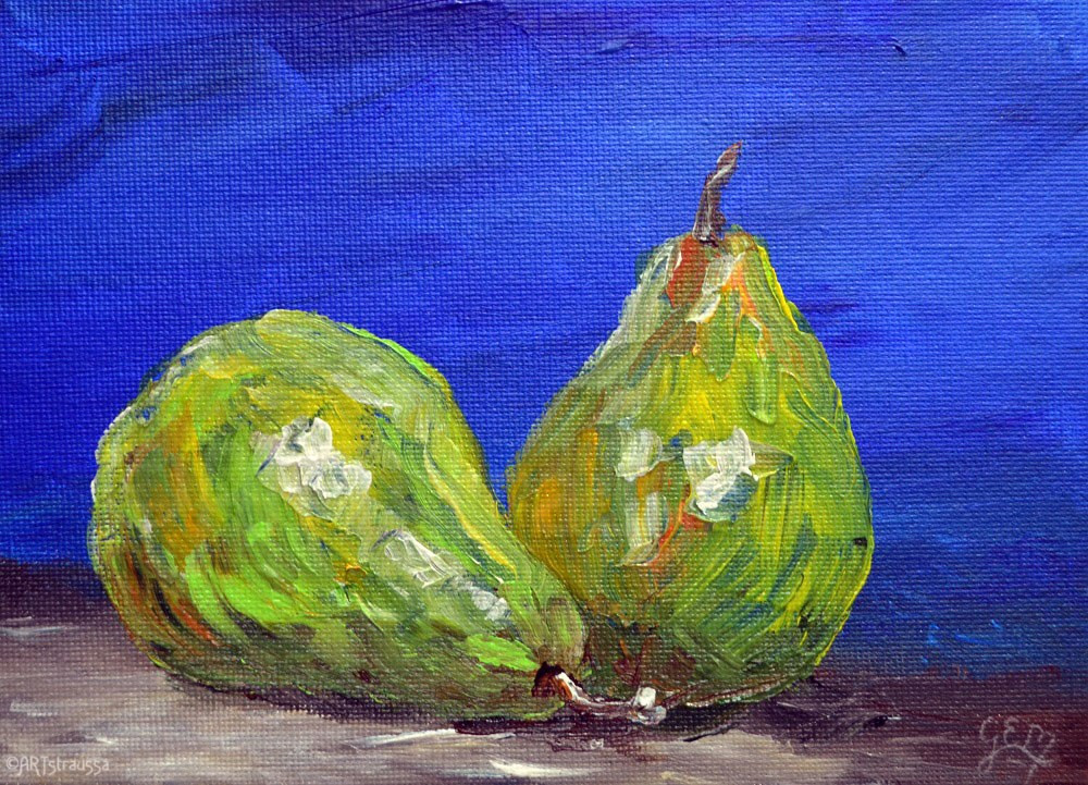 """SALE!!!Green Pair"" original fine art by Gloria Ester"