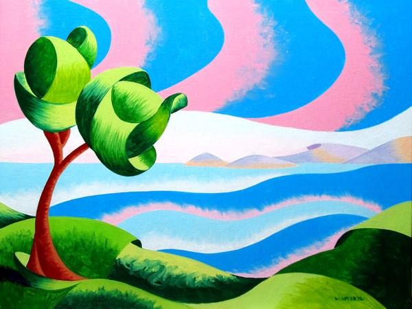 """Mark Webster Artist - Via San Pietro - Virtual Paintout - Elba - Abstract Geometric Seascape Oil Pai"" original fine art by Mark Webster"