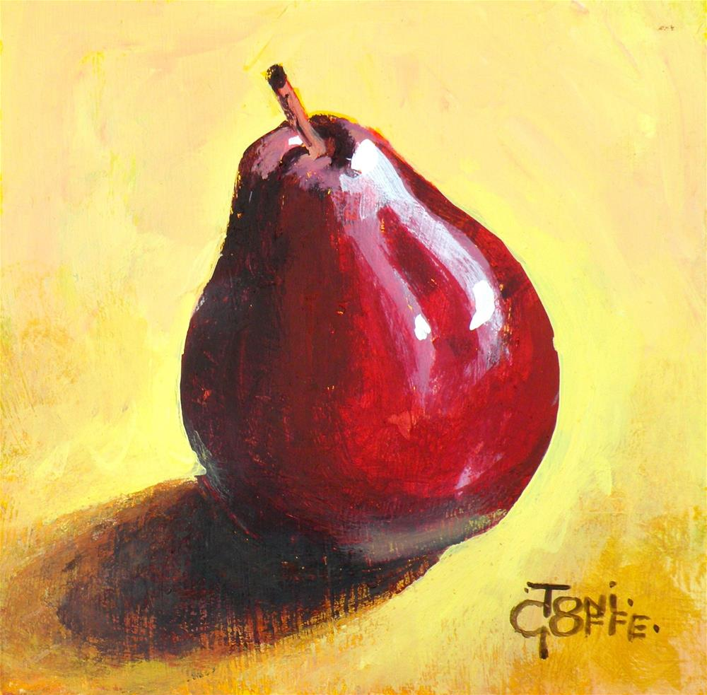 """Red Pear"" original fine art by Toni Goffe"