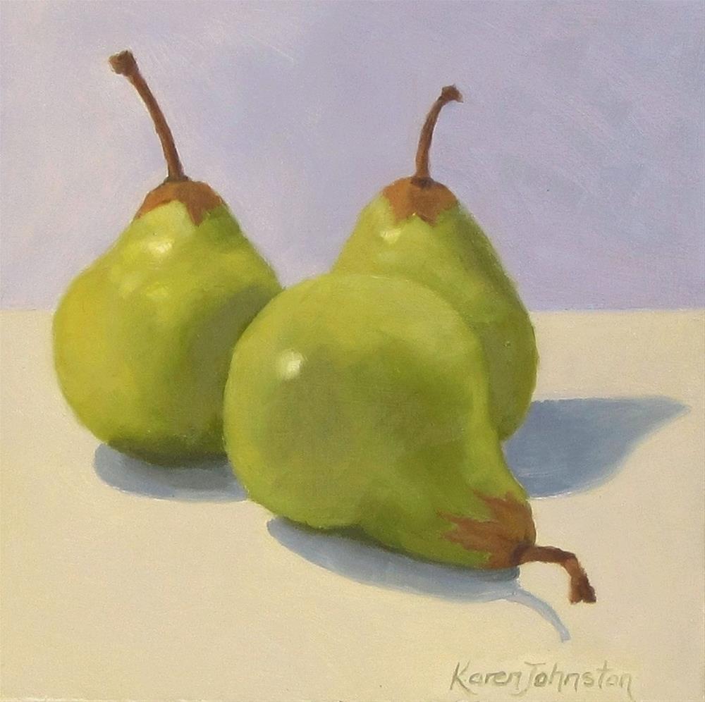"""""""Packham Pears"""" original fine art by Karen Johnston"""