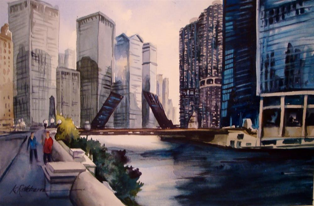 """The Bridge is Up-Chicago"" original fine art by Kathy Los-Rathburn"
