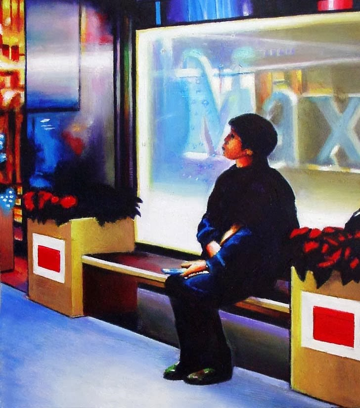 """""""Max- City Scene Painting Of Figure In Front Of A Store"""" original fine art by Gerard Boersma"""