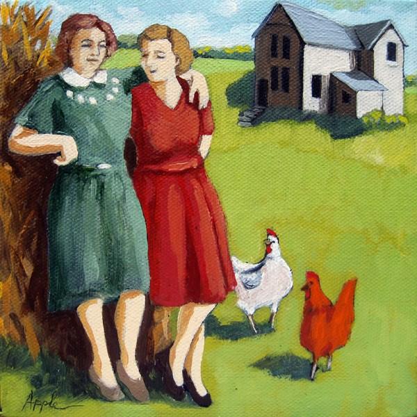 """Family Farm Days - figurative vintage image oil painting"" original fine art by Linda Apple"