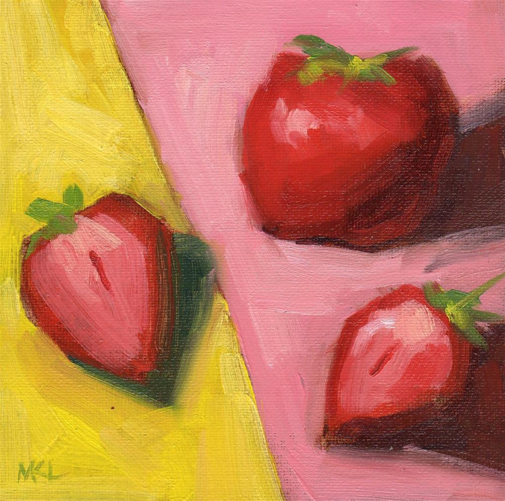 """Strawberries on Pink and Yellow"" original fine art by Marlene Lee"