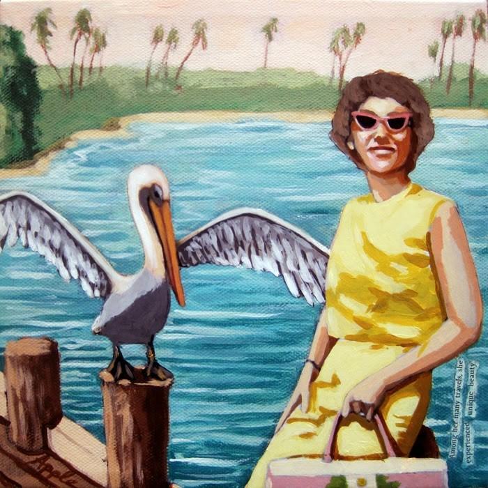"""""""Pelican Bay Vintage Memories figurative painting"""" original fine art by Linda Apple"""