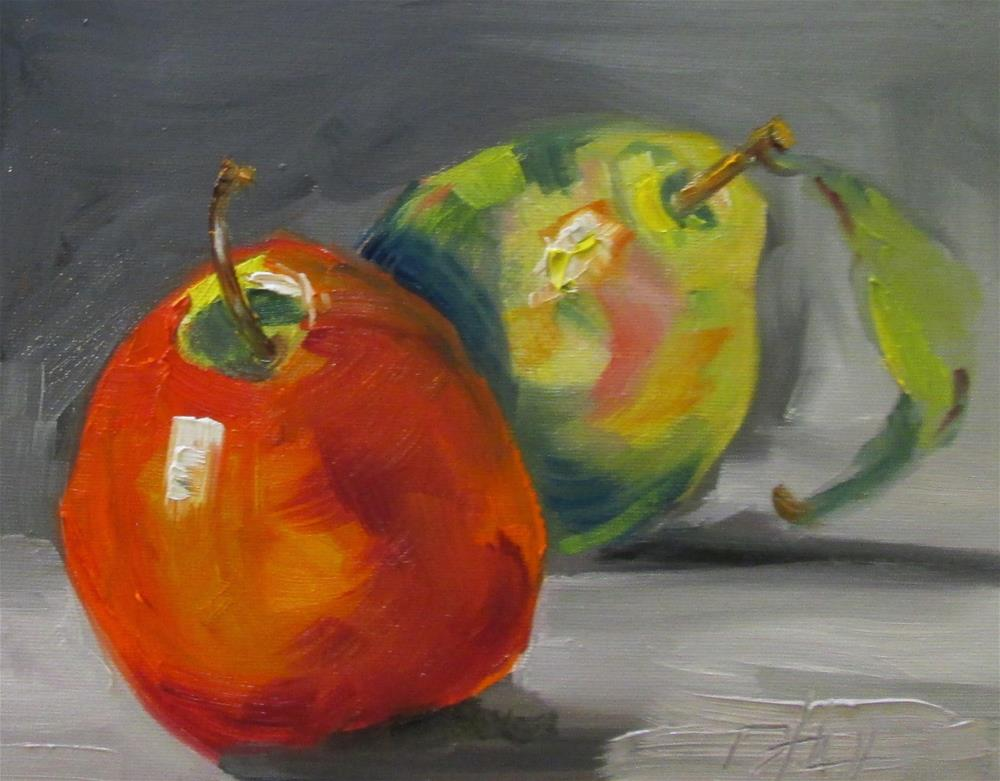 """Apple and Pear"" original fine art by Delilah Smith"