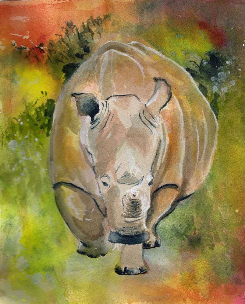 """""""Rhinoceros"""" original fine art by Bunny Griffeth"""