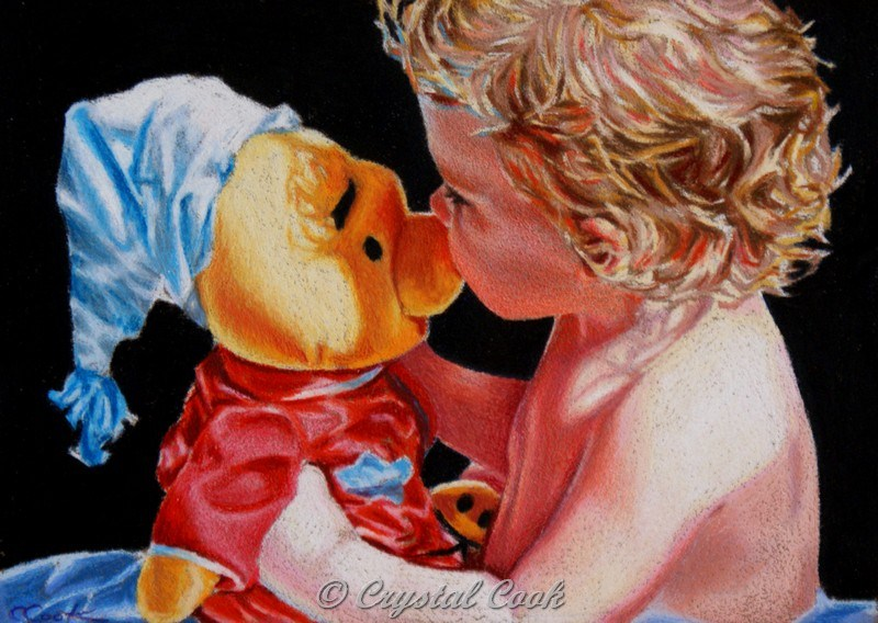 """A Kiss On The Nose"" original fine art by Crystal Cook"