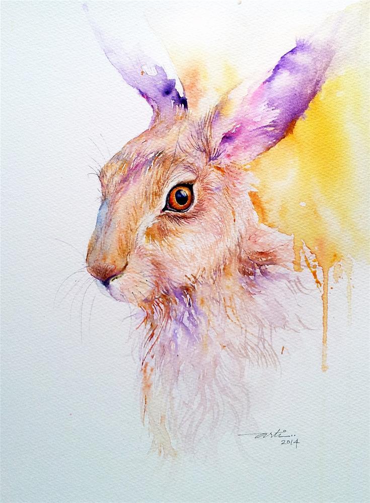"""Yellow Aura Hare Painting"" original fine art by Arti Chauhan"
