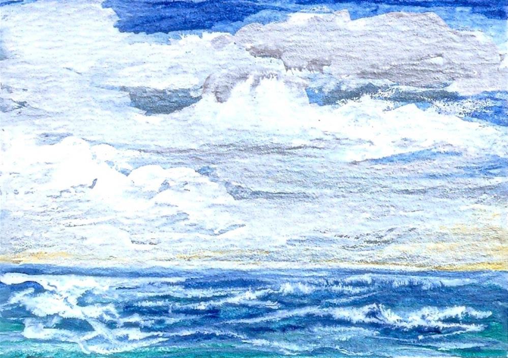 """ACEO Clouds at Sea Ocean view Seascape waves sky SFA WC Orig by P StewArt"" original fine art by Penny Lee StewArt"