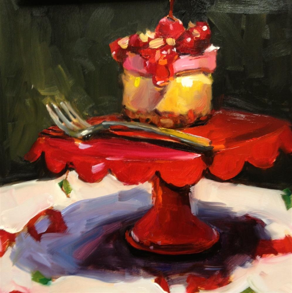 """""""The Yummy Cherry Cheesecake from Pamplemousse"""" original fine art by Laurie Johnson Lepkowska"""