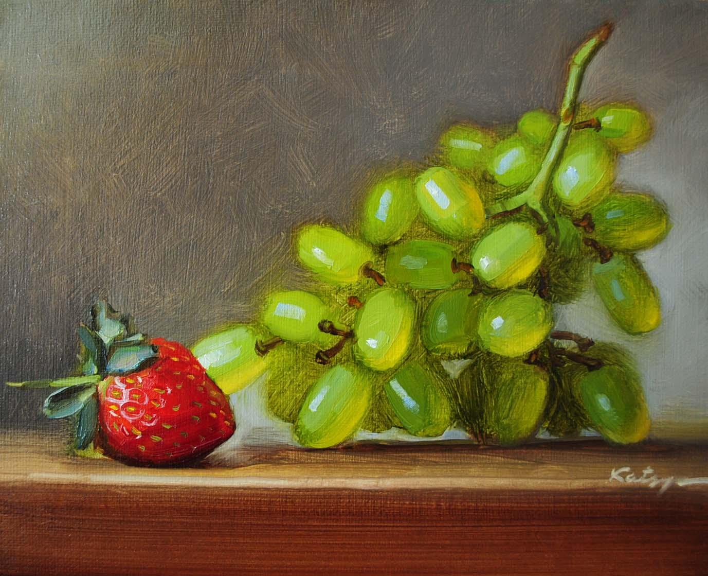 """Strawberry & Grapes"" original fine art by Elena Katsyura"