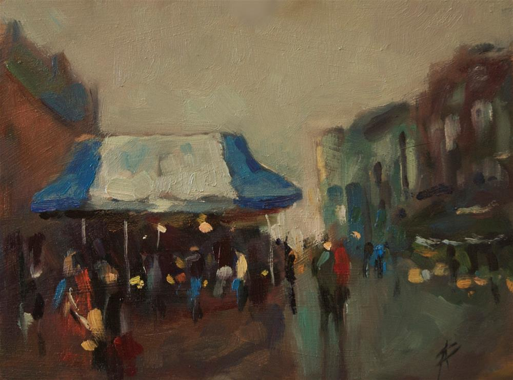 """""""Market day at a Seaside Town"""" original fine art by Andre Pallat"""