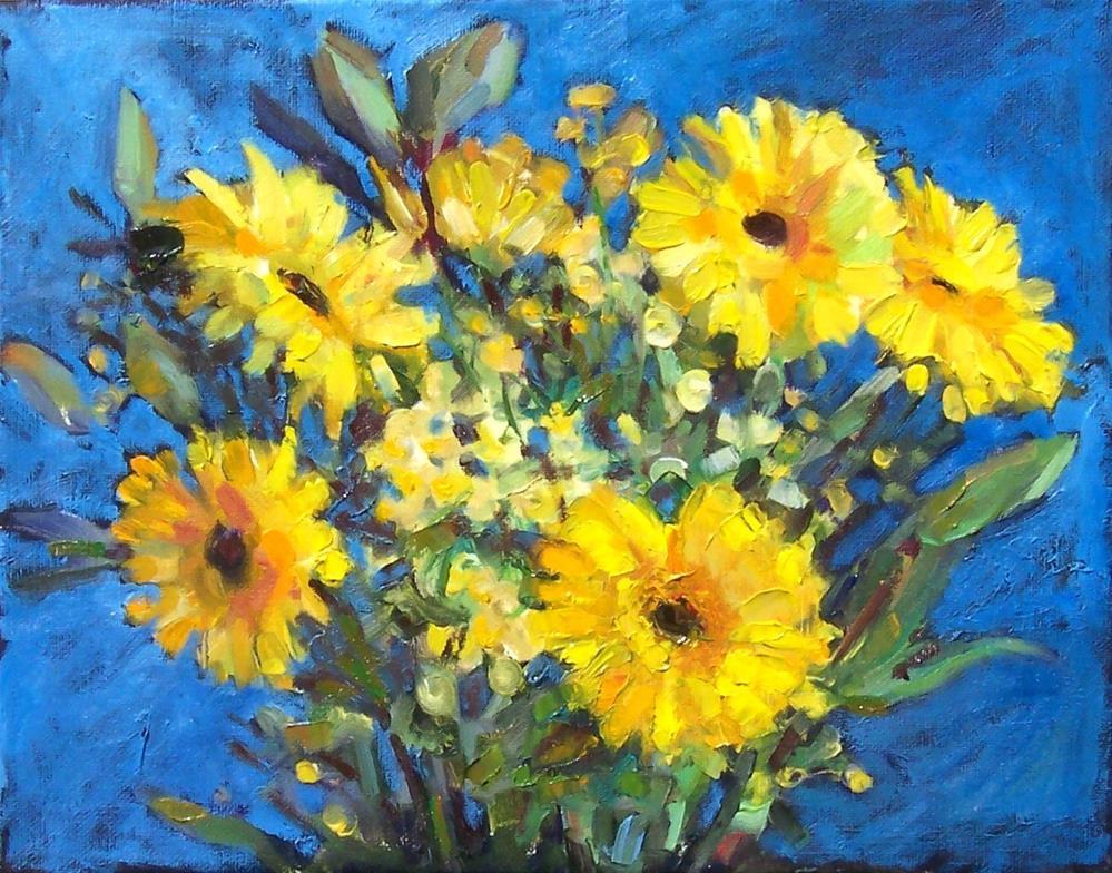 """Flower Burst,still life,oil on canvas,8x10,priceNFS"" original fine art by Joy Olney"