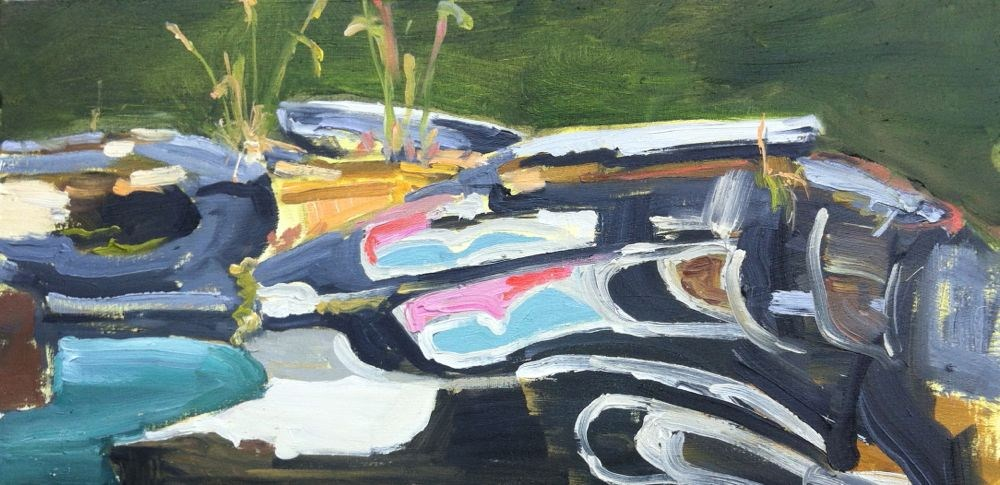 """""""Totem Pole on Forest Floor, oil on board, 7x14"""" original fine art by Darlene Young"""