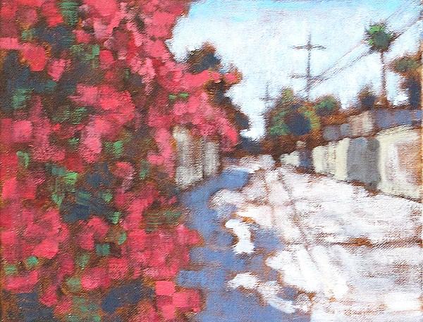 """Bougainvillea in Mission Hills"" original fine art by Kevin Inman"