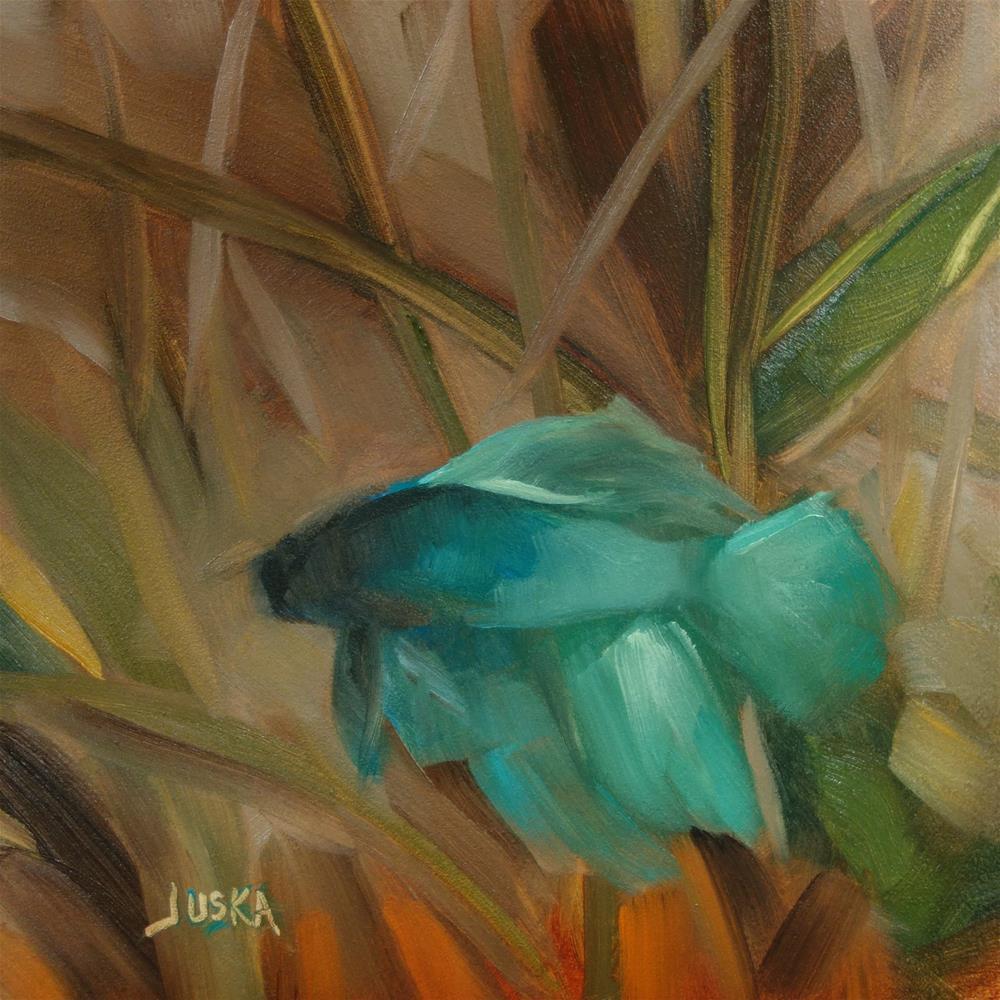 """Blue Beta Fish"" original fine art by Elaine Juska Joseph"