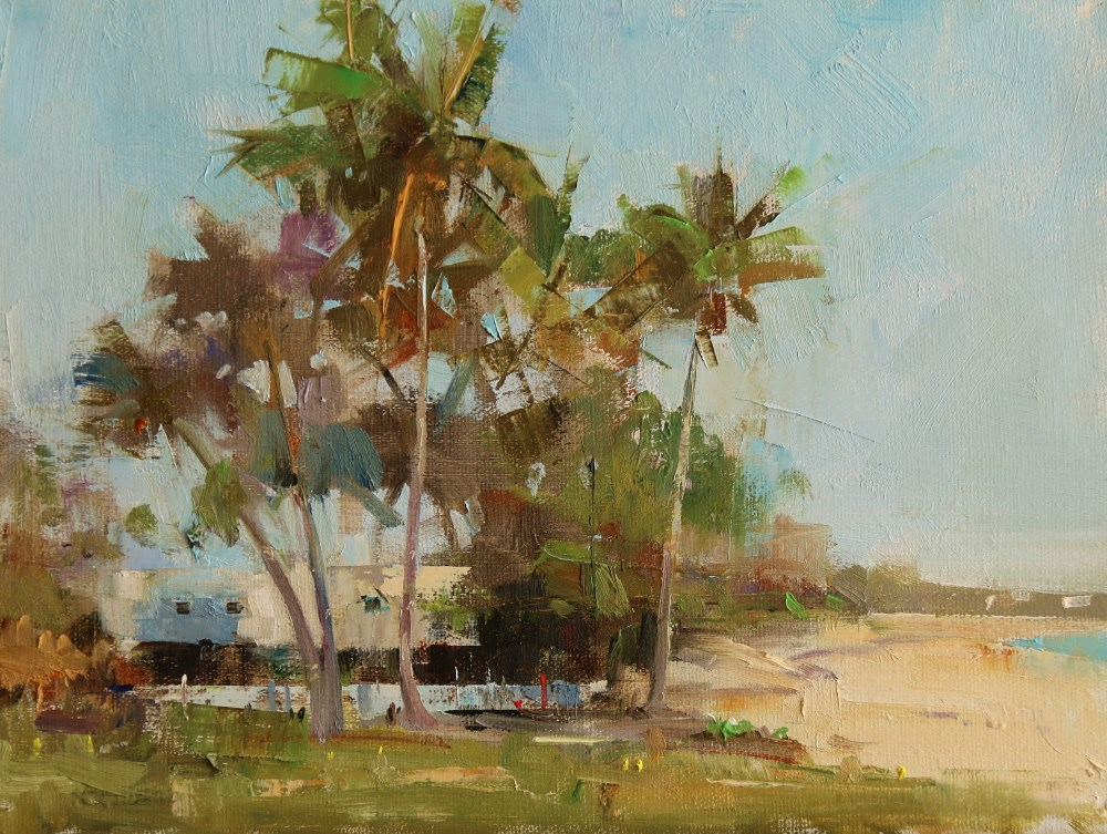 """""""Coconut Trees in Abaco"""" original fine art by Qiang Huang"""