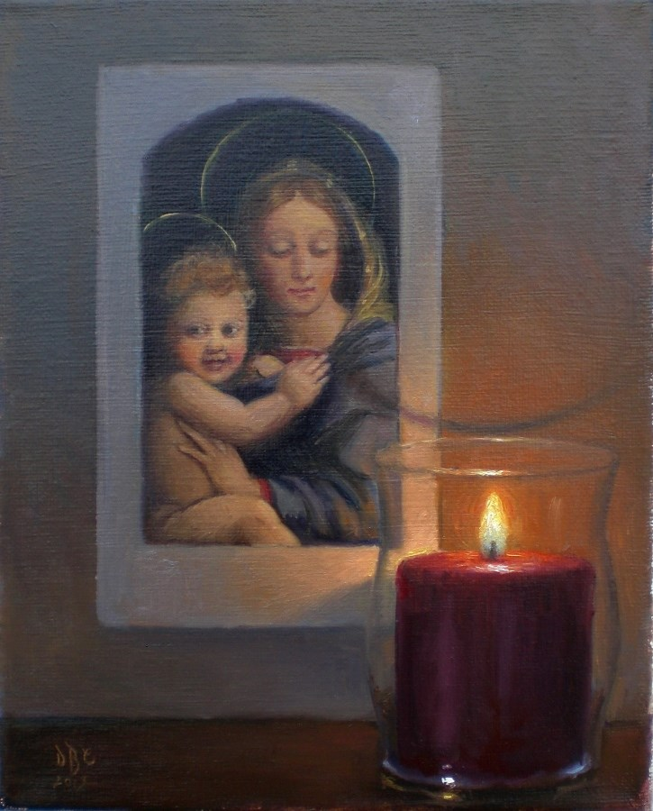 """""""Madonna and Child with Candle"""" original fine art by Debra Becks Cooper"""