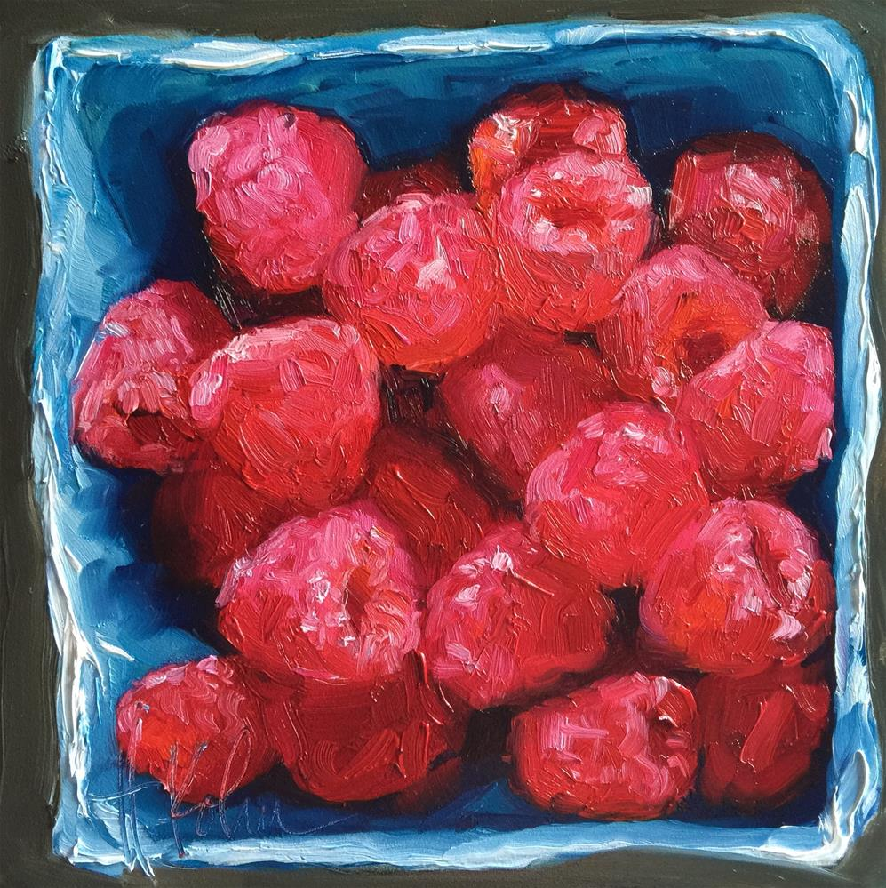 """Raspberries"" original fine art by Hallie Kohn"