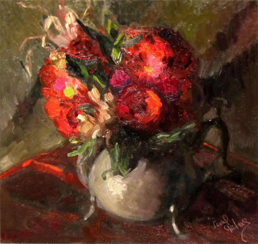 """Red Roses in Kettle, Olive/Black Red"" original fine art by Carol Steinberg"