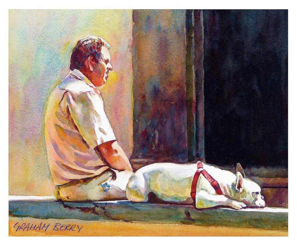 """Dog tired"" original fine art by Graham Berry"