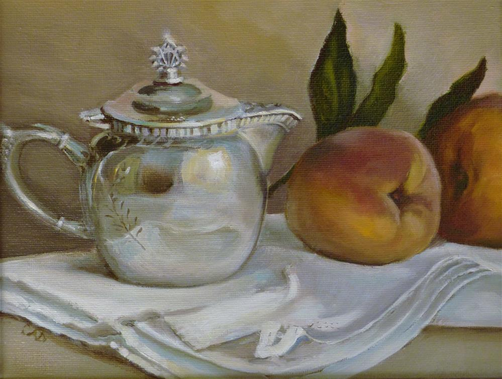 """Peaches and Cream"" original fine art by Christine Angelotta Dixon"