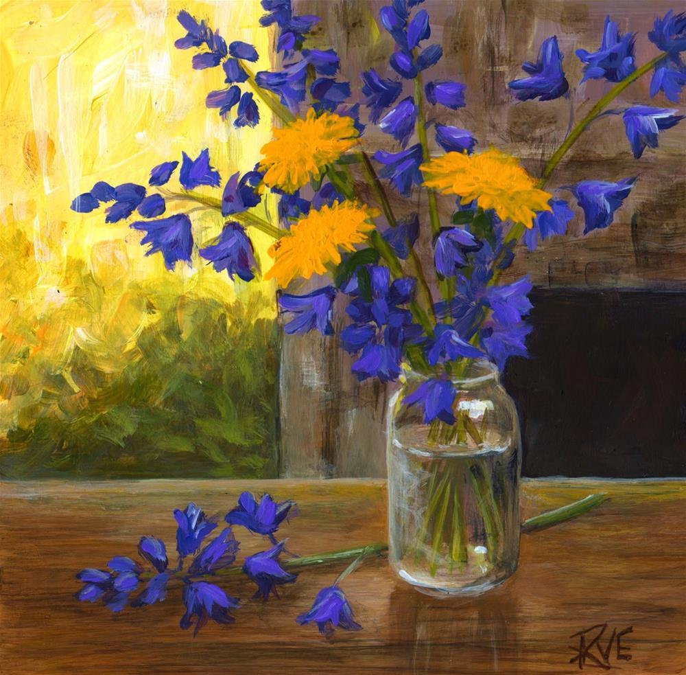 """Blue bells and dandelions"" original fine art by Ruth Van Egmond"