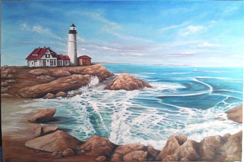 """Lighthouse Seascape"" original fine art by Camille Morgan"