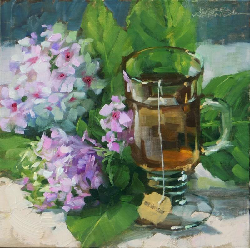 """""""Tea & Hydrangeas"""" original fine art by Karen Werner"""