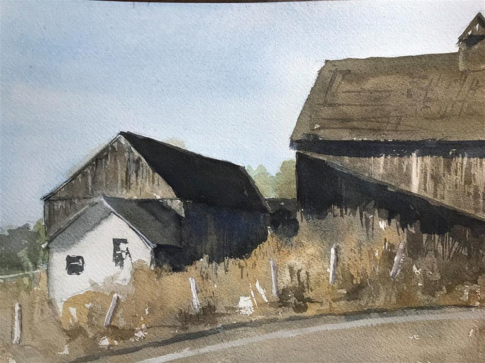 """Barns on the edge of the road"" original fine art by Betty Argiros"