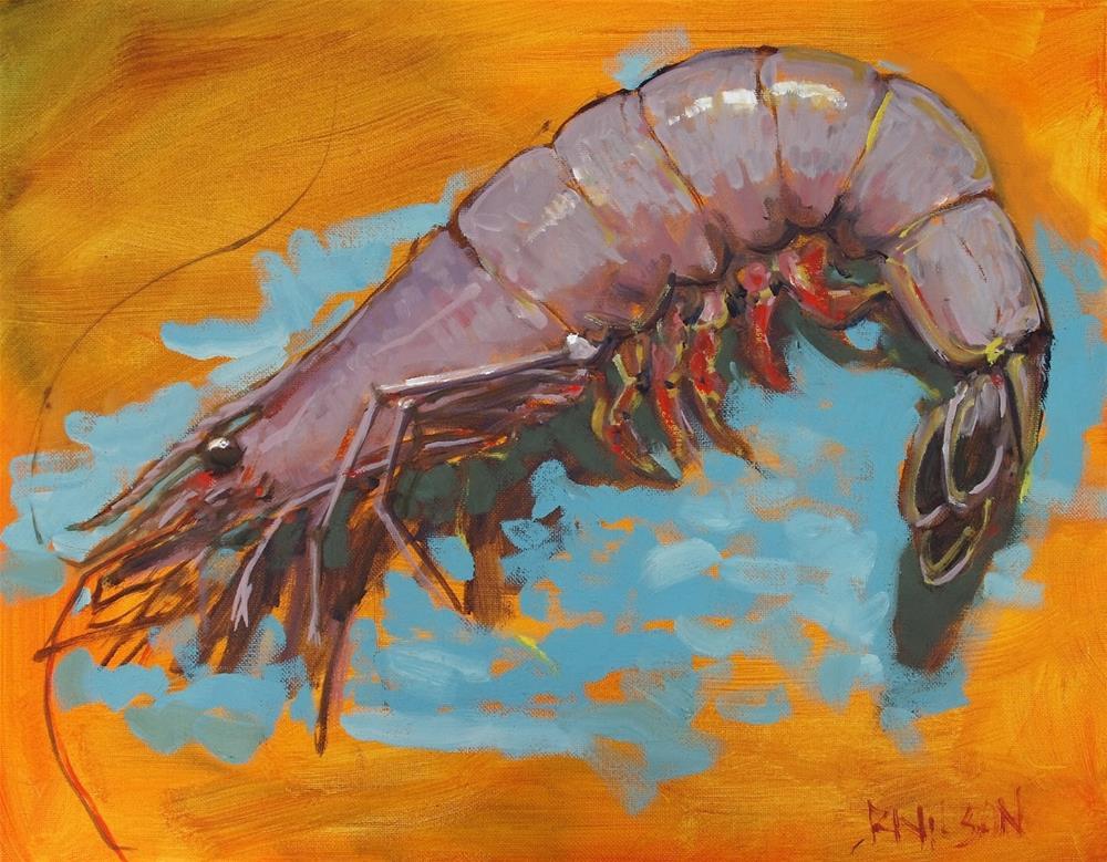 """Big Shrimp in Yellow"" original fine art by Rick Nilson"