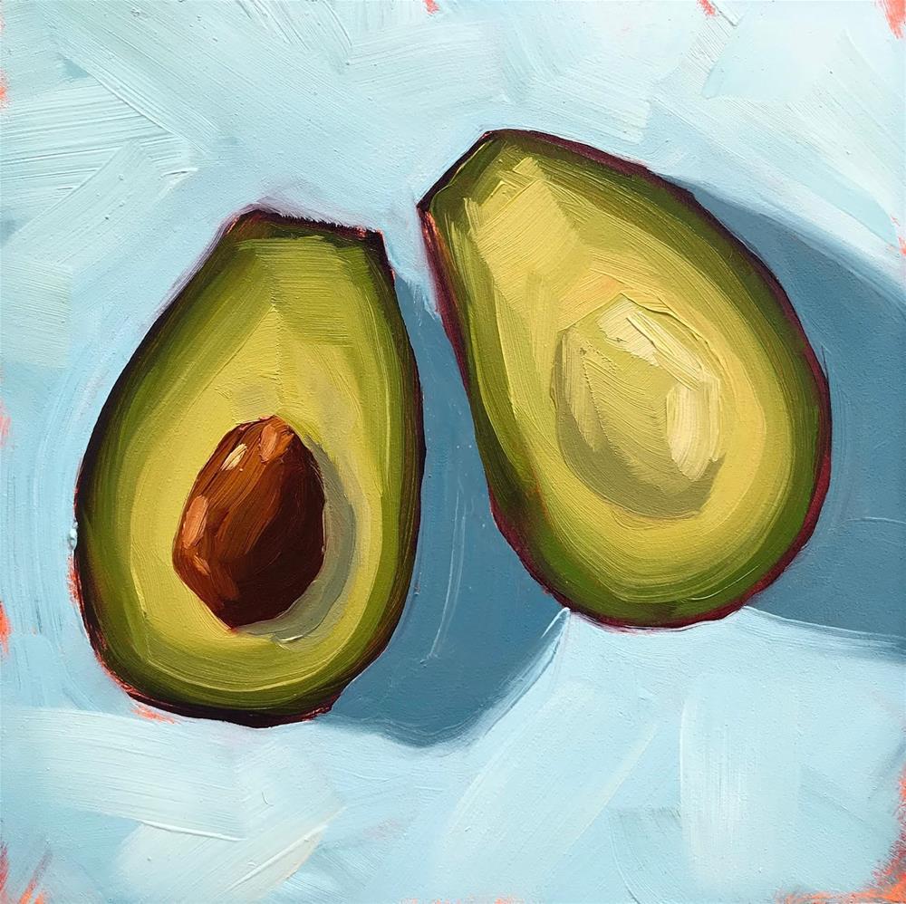 """Avocado on Blue"" original fine art by Sharon Schock"