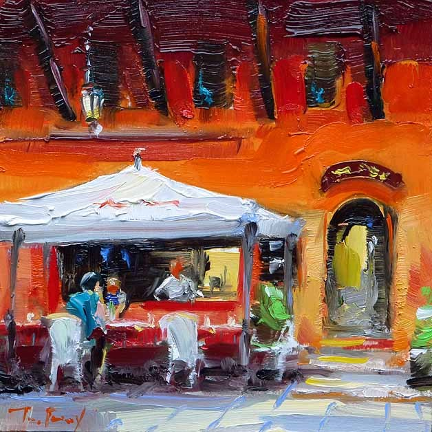 """Straßencafé"" original fine art by Jurij Frey"