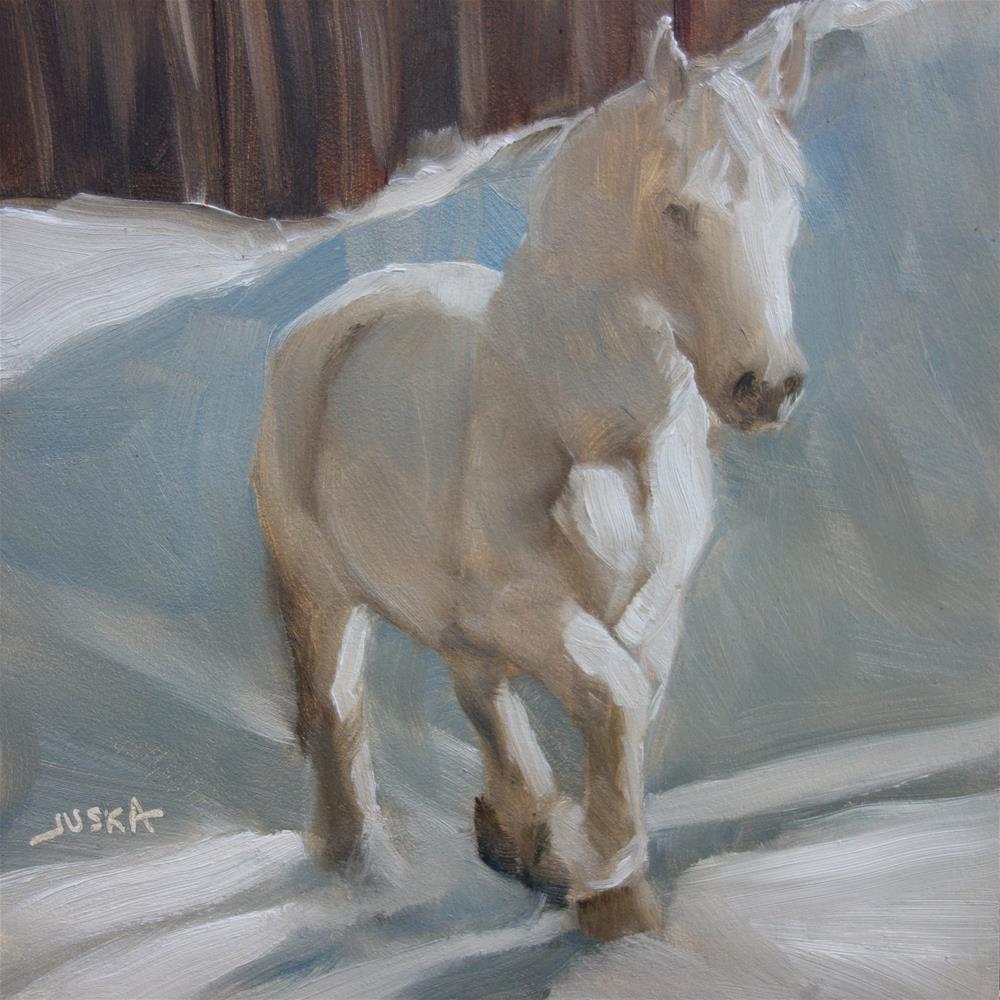 """Study of a White Horse in Snow"" original fine art by Elaine Juska Joseph"