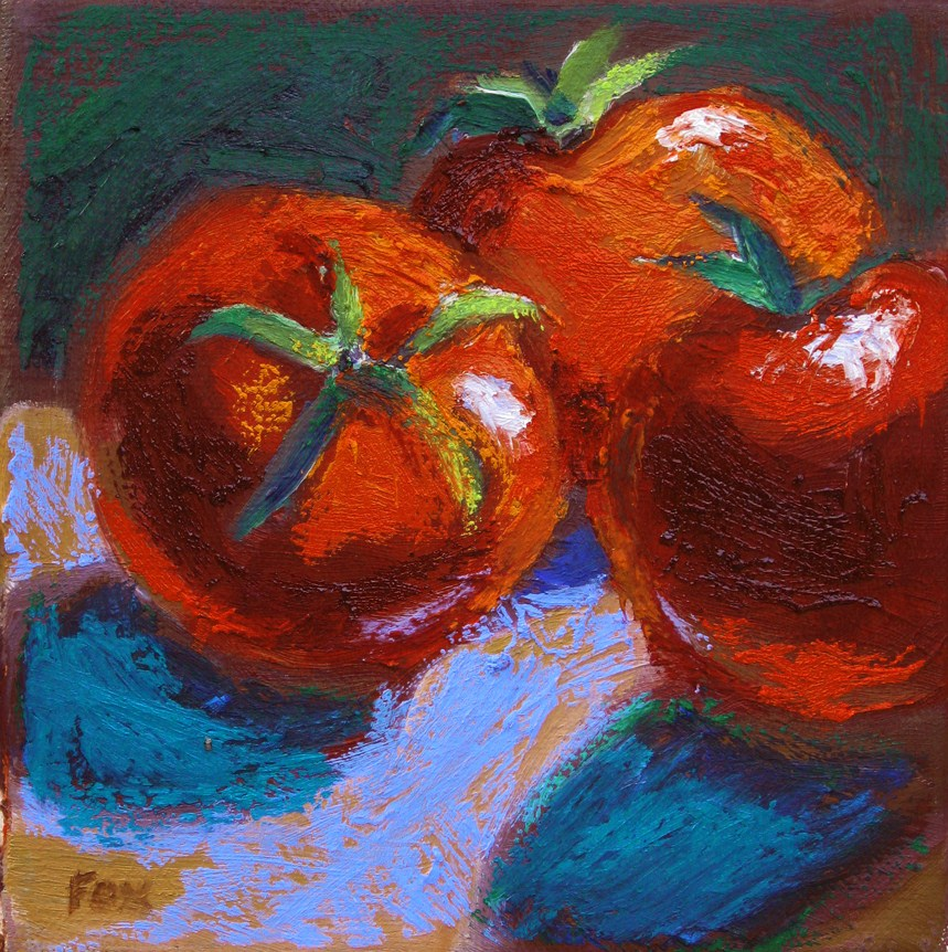 """""""Three Tomatoes, a still life oil painting of fruit and vegetables, food"""" original fine art by Marie Fox"""