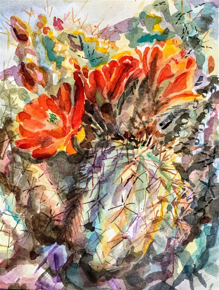 """Claret Cup Cactus - Echinocereus triglochidiatus"" original fine art by Jean Krueger"